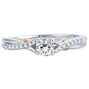 18ct White & Rose Gold 0.33ct Diamond Solitaire Ring - Product number 4810503