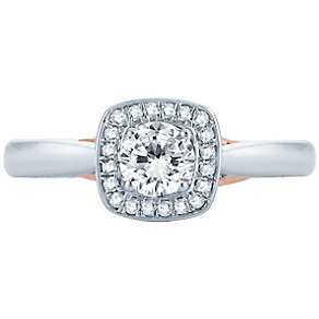18ct White & Rose Gold 0.50ct Round Diamond Halo Ring - Product number 4810686
