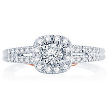 18ct White & Rose Gold 0.50ct Round Diamond Halo Ring - Product number 4810848