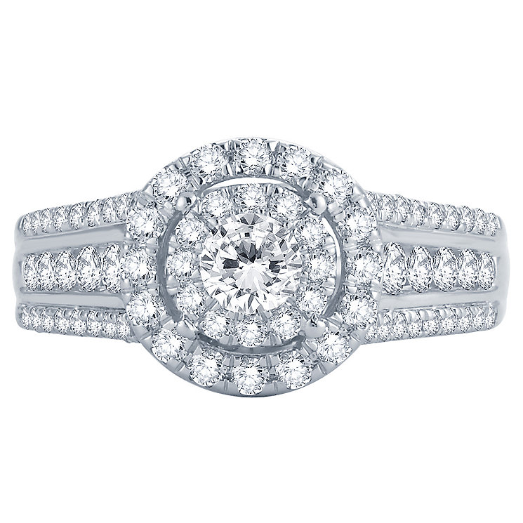 18ct White & Rose Gold 1ct Round Diamond Double Halo Ring - Product number 4811100