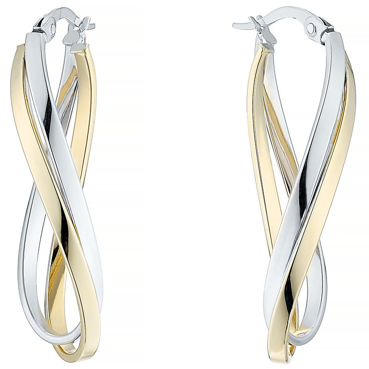 9ct Yellow & White Gold Double Twist Creole Earrings - Product number 4811291