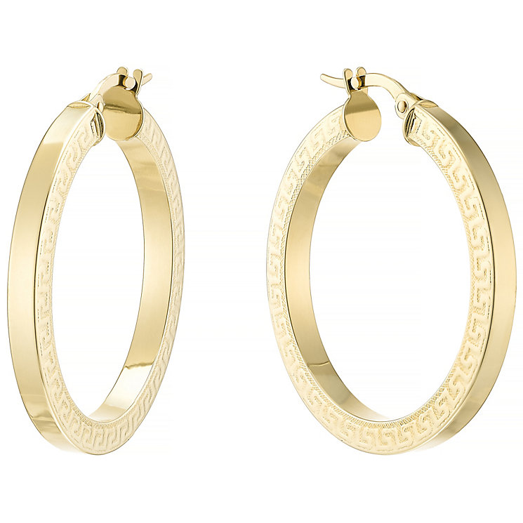 9ct Yellow Gold Polished Creole Hoop Earrings