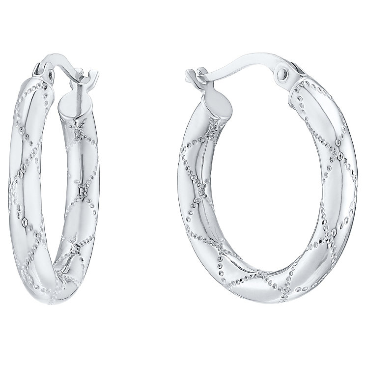9ct White Gold Creole Hoop Earrings - Product number 4811321