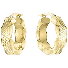 9ct Yellow Gold Wide Texture Creole Hoop Earrings - Product number 4811364
