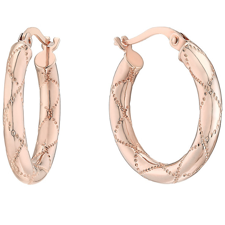 9ct Rose Gold Creole Hoop Earrings - Product number 4811399