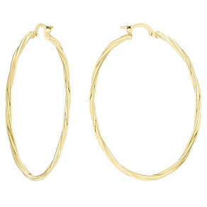 9ct Yellow Gold Lrg Round Twist Creole Earrings - Product number 4811402
