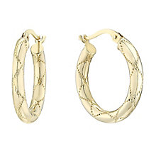 9ct Yellow Gold Creole Hoop Earrings - Product number 4811453