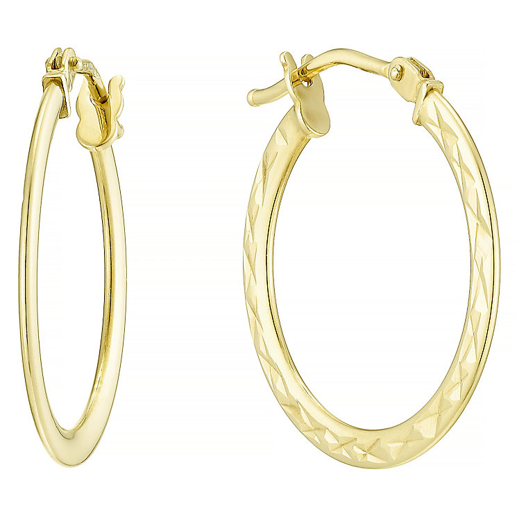 9ct Yellow Gold Flat Creole Earrings - Product number 4811488