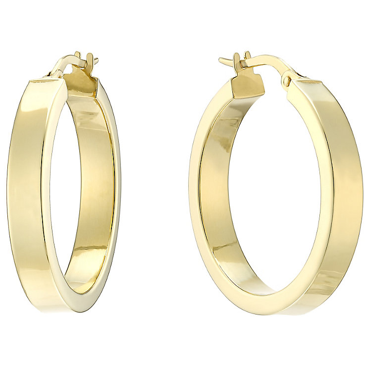 14ct Yellow Gold 20mm Square Edge Flat Creole Earings - Product number 4811496