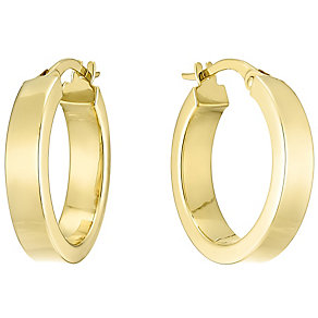 14ct Yellow Gold 15mm Square Edge Flat Creole Earings - Product number 4811518