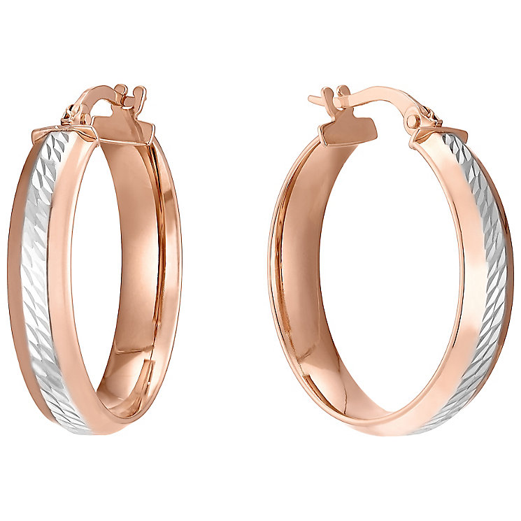 9ct Rose Gold Rhodium Diamond Cut Creole Earrings - Product number 4811526