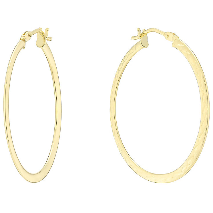 9ct Yellow Gold Large Flat Creole Earrings - Product number 4811534