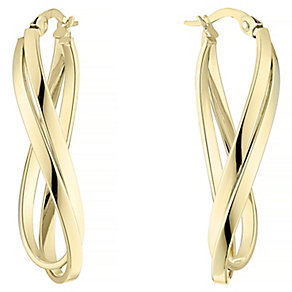 9ct Yellow Gold Double Twist Oval Creole Earrings - Product number 4811542