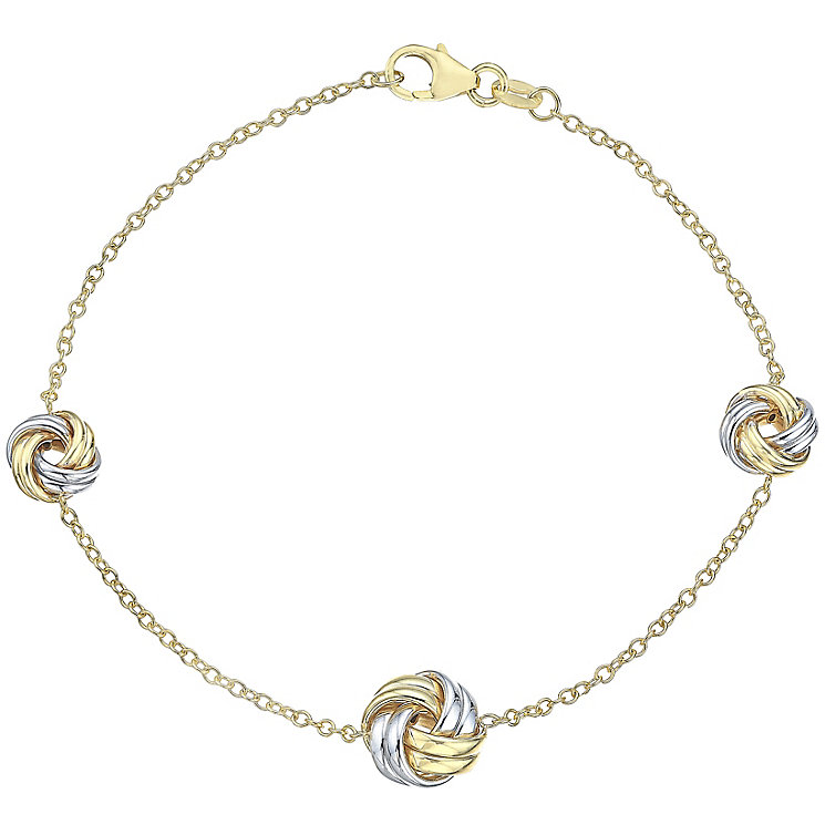 9ct Yellow White Gold Knot Bracelet - Product number 4811801