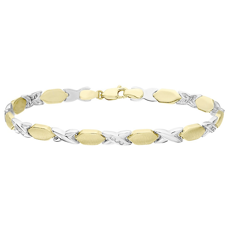 9ct Yellow and White Gold Cubic Zirconia Kiss Bracelet - Product number 4811860