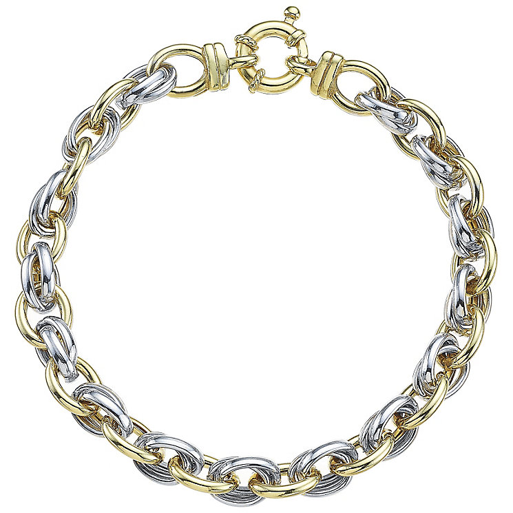 9ct Yellow Gold and White Gold Open Link Bracelet - Product number 4811887