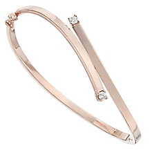9ct Rose Gold Cubic Zirconia Crossover Bangle - Product number 4812123