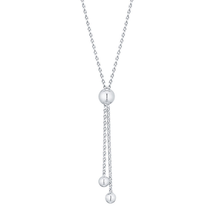 9ct White Gold Adjustable Ball Necklet - Product number 4813200