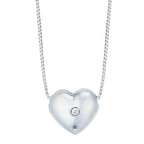 9ct White Gold Cubic Zirconia Heart Necklet - Product number 4813227