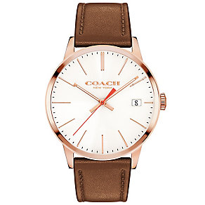 Coach Men's Rose Gold Plated Strap Watch - Product number 4819675