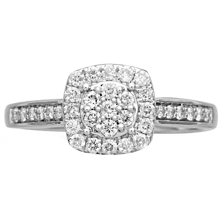 18ct White Gold 0.40ct Cushion Halo Ring - Product number 4824784