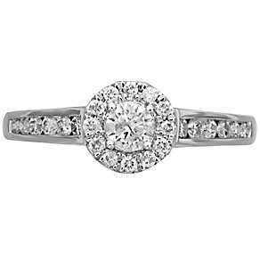 18ct White Gold 0.50ct Round Diamond Halo Ring - Product number 4825101