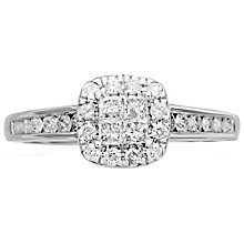 18ct White Gold 0.50ct Diamond Halo Ring - Product number 4825683