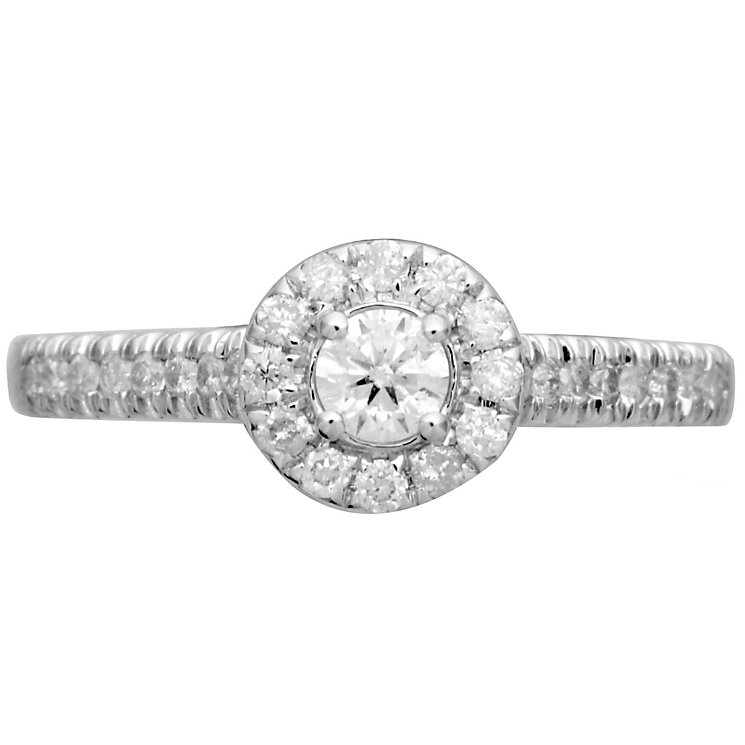 18ct White Gold 0.50ct Round Diamond Halo Ring - Product number 4825845