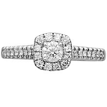 18ct White Gold 0.50ct Cushion Cut Diamond Halo Ring - Product number 4825993