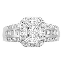 Love Cut 18ct White Gold 1.50ct Diamond Halo Ring - Product number 4826590
