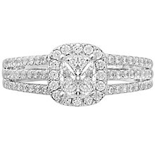 Love Cut 18ct White Gold 1ct Diamond Halo Ring - Product number 4826760
