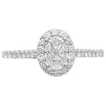 Love Cut 18ct White Gold 0.79ct Oval Diamond Halo Ring - Product number 4827074