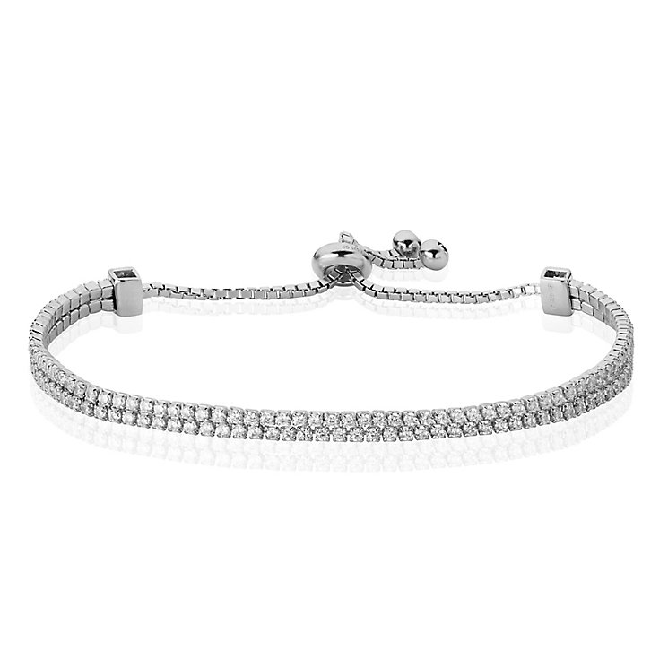 Sterling Silver Double Strand Cubic Zirconia Bracelet - Product number 4831152