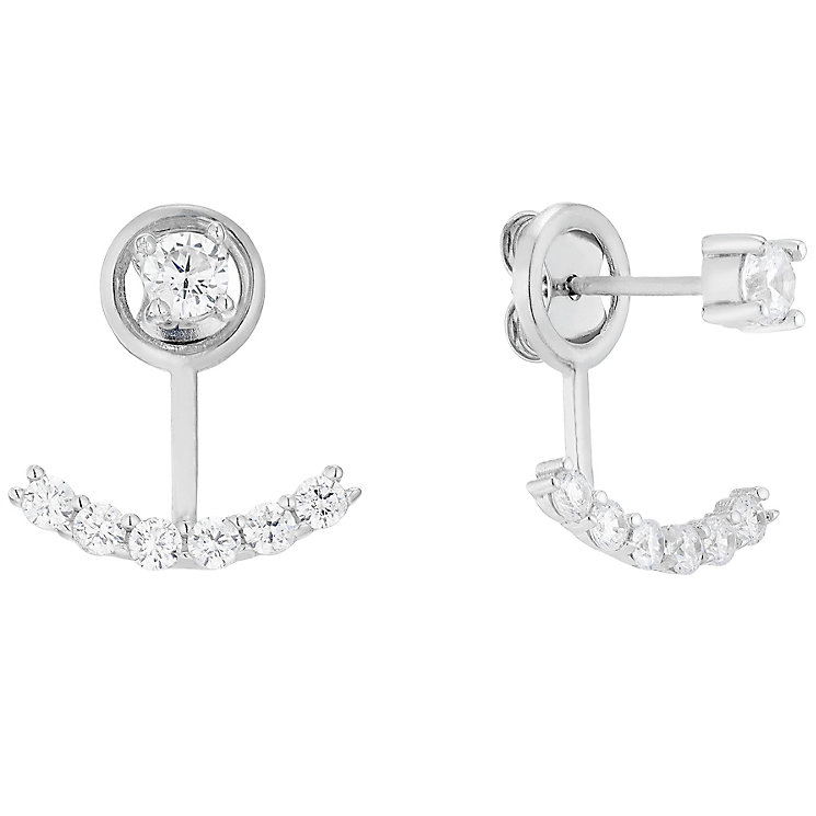 9ct White Gold Cubic Zirconia Ear Jackets - Product number 4834259