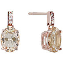9ct Rose Gold Simulated Morganite Oval Drop Earrings - Product number 4834291