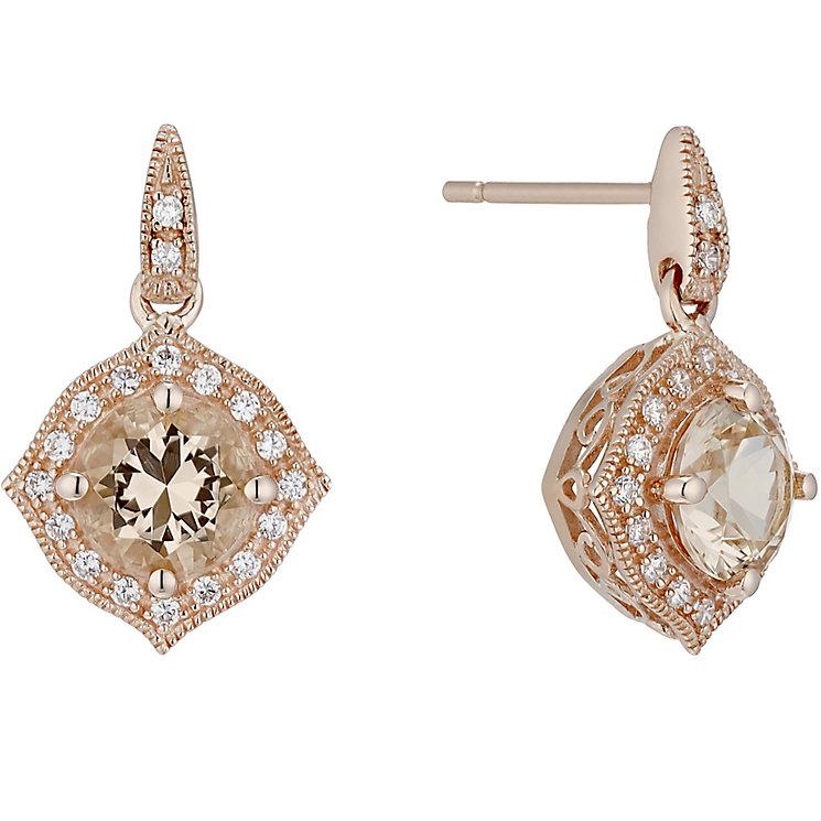 9ct Rose Gold Simulated Morganite Drop Earrings - Product number 4835301