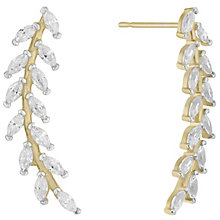 9ct Yellow Gold Cubic Zirconia Floral Flick Stud Earings - Product number 4835492