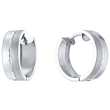 9ct White Gold Satin Polish Creole Earrings - Product number 4835530