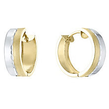 9ct White and Yellow Gold Satin Polish Creole Earrings - Product number 4835557