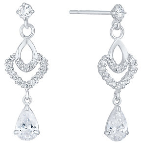 9ct White Gold Cubic Zirconia Fancy Drop Earrings - Product number 4835581