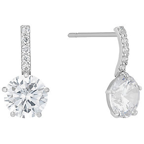 9ct White Gold Cubic Zirconia Solitaire Drop Earrings - Product number 4835603
