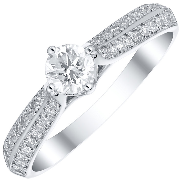Platinum 0.50ct Solitaire Diamond Shoulders Ring - Product number 4835921