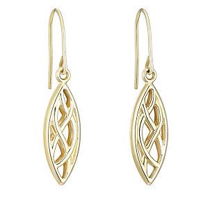 9ct Yellow Gold Plait Drop Earrings - Product number 4836057