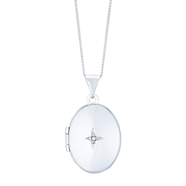 9ct White Gold Oval Diamond Locket - Product number 4836650