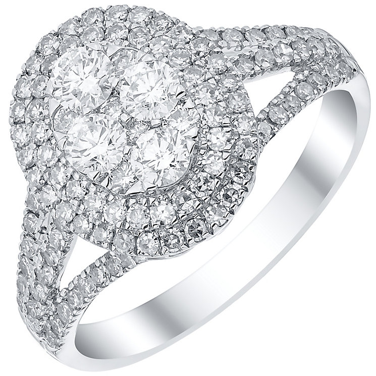 Platinum 1.00ct Diamond Split Shoulders Ring - Product number 4836669