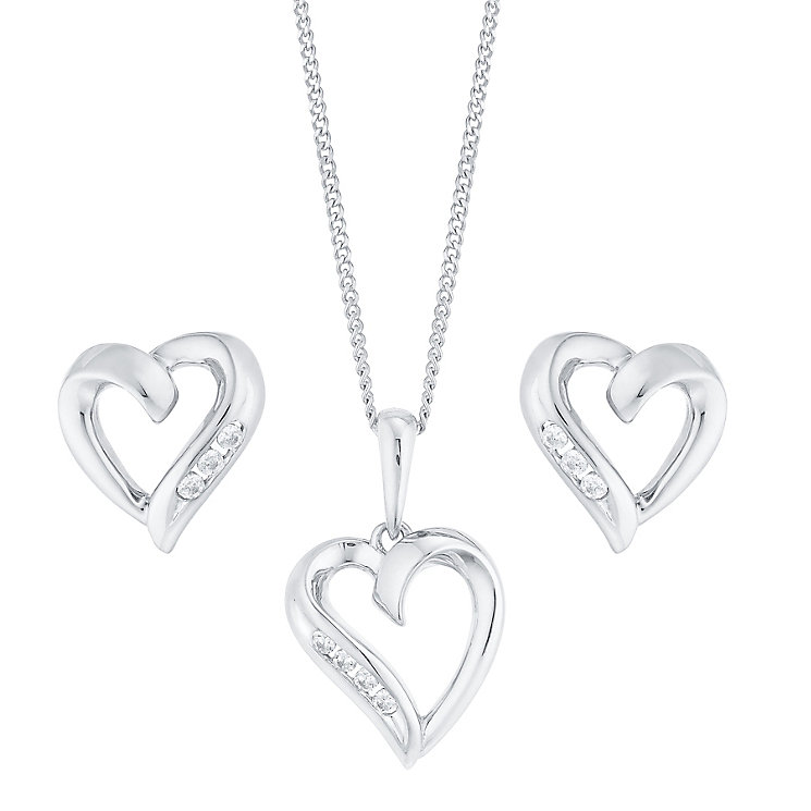 9ct White Gold Cubic Zirconia Heart Pendant & Earring Set - Product number 4836944