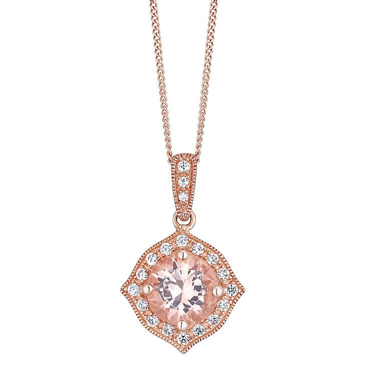 9ct Rose Gold Simulated Morganite Pendant - Product number 4836952