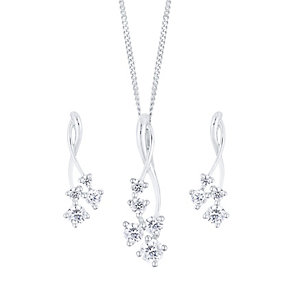9ct White Gold Cubic Zirconia Cluster Pendant & Earring Set - Product number 4836979
