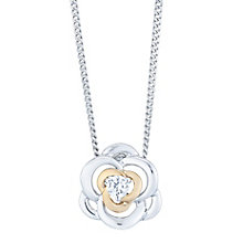 Silver & 9ct Rose Gold Cubic Zirconia Flower Pendant - Product number 4837134
