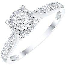 9ct White Gold 0.25ct Diamond Illusion Set Cluster Ring - Product number 4837223